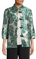 Caroline Rose Paradise Palm Jacquard Mandarin-Collar Jacket, Plus Size