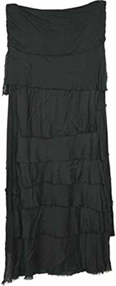 Nac Ladies Italian Lagenlook Quirky Dress Layer Look Plain Shredded Sleeveless Frill Long Dress for Women Pleated Tiered Maxi Style (Black Frill Dress Women One Size)