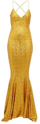 Norma Kamali Fishtail-hem Sequinned Jersey Maxi Dress - Womens - Gold