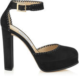 Jimmy Choo DAPHNE 120 Black Suede and Nappa Leather Platforms