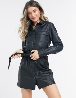 NA-KD belted faux leather mini dress in black