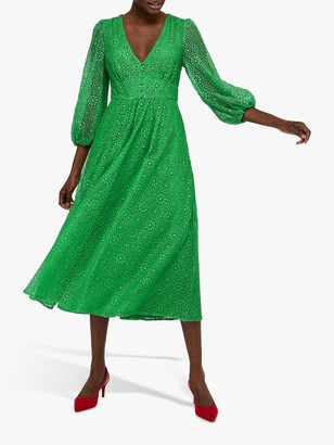 Monsoon Zinnia Broderie Midi Dress, Green