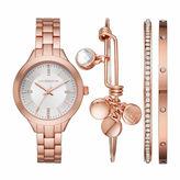 Liz Claiborne Womens Rose Goldtone Bracelet Watch-Lc9042