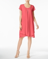 NY Collection Petite Inverted-Pleat Chiffon Dress