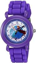 Disney Girl's 'Frozen' Quartz Plastic and Silicone Casual Watch, Color:Purple (Model: WDS000005)