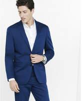 Express navy blue cotton sateen producer suit jacket