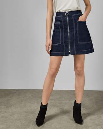 Ted Baker YAZZIE Denim zip detail mini skirt