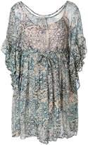 Mes Demoiselles printed frill sleeve dress