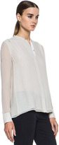 Vince Double Layer Blouse in Almond & White