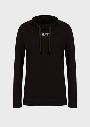 Ea7 Sweatshirt With A Wide Neckline And Side Snaps