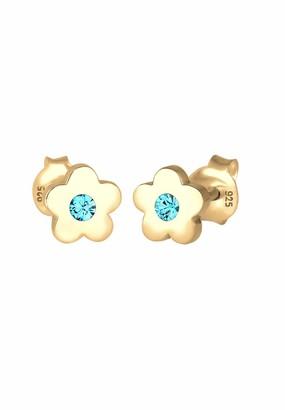 Elli Earrings Children Kids Flower Swarovski Crystals 925 Sterling Silver