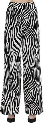 Sara Battaglia Zebra Velvet Palazzo Pants