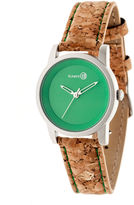 Earth Wood Canopies Green Dial Leather-Band Watch ETHEW2902