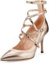 Valentino Leather Grommet Crisscross Pump, Sasso