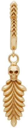 Emanuele Bicocchi Gold Single Skull and Feather Hoop Earring