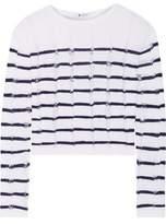 Alexander Wang Cropped Striped Open-Knit Merino Wool Sweater