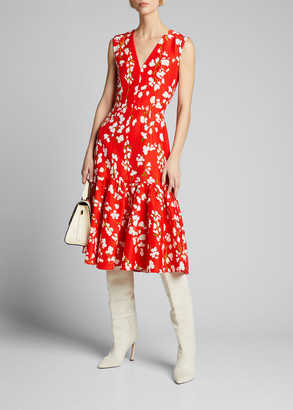 Carolina Herrera Floral Sleeveless V-Neck Flounce Dress