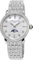 Frederique Constant Fc-206mpwd1sd6b Slinline Moonphase Stainless Steel And Diamond Bezel Watch