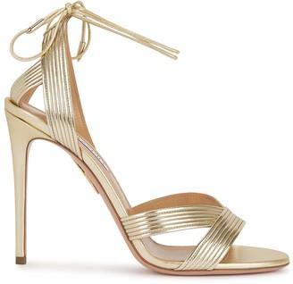 Aquazzura Ari 105 Gold Leather Sandals