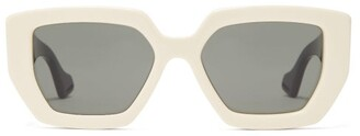 Gucci Oversized Angular Acetate Sunglasses - Womens - White