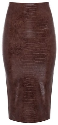 Commando Snake-Print Faux Leather Pencil Skirt