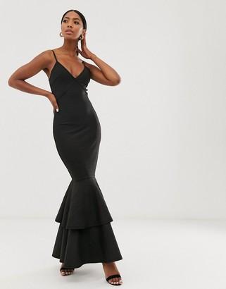 Forever U v neck cami maxi dress with peplum hem skirt in black