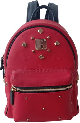 MCM Stark Red Patent leather Backpacks