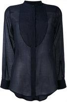 Alberto Biani sheer bib shirt - women - Cotton/Silk - 40