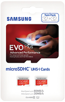 Samsung EVO Plus Advanced Performance microSDHC UHS-I Memory Card, 32GB, 80MB/s Read Speed, Twin Pack