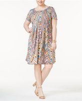 NY Collection Plus Size Printed Fit & Flare Dress