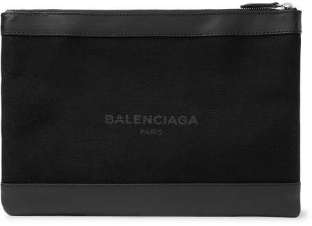 Balenciaga Leather-Trimmed Printed Canvas Pouch