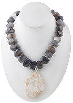 Barse Adjustable Agate & Druzy Pendant Necklace