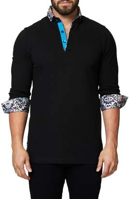 Maceoo Long Sleeve Polo with Geo Cuffs