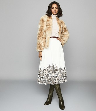 Reiss Millie Coat - Faux Fur Coat in Cream
