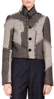 Proenza Schouler Button-Front Patchwork Cropped Jacket, White/Black/Combo