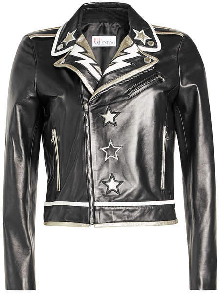 RED Valentino Embroidered Leather Jacket