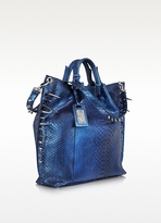 Ghibli Metallic Blue Python Leather Tote