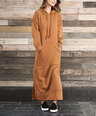 Z Avenue Women's Sweater Dresses Gold - Gold Side-Slit Kangaroo-Pocket Hooded Maxi Dress - Women & Plus