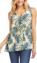 Karen Kane Tropical Print Pleat Front Crepe Tank Top