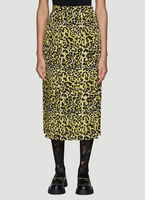 Gucci Leopard Print Pleated Skirt