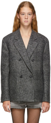 Saint Laurent Grey Oversized Glen Plaid Jacket