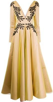 Avaro Figlio Sequin Embroidered Metallic Dress