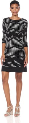 Taylor Dresses Women's Zig Zag Pattern A Line Sweater Dress