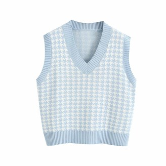 Tinfrey Oversized Houndstooth Knitted Vest Sweater V Neck Loose Sleeveless Sweater Waistcoat Chic Tops for Women Blue