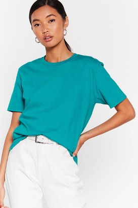 Nasty Gal Womens Get Back to Basics Crew Neck Fitted Tee - Jade