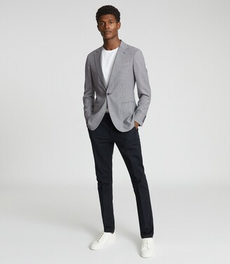 Reiss Hustle - Check Wool-blend Blazer in Blue