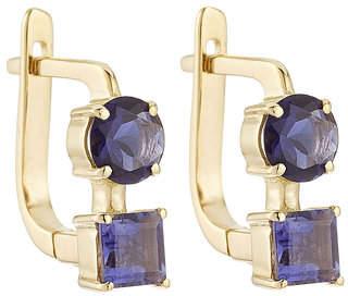 Ileana Makri 18K Yelow Gold Earrings with Lolites