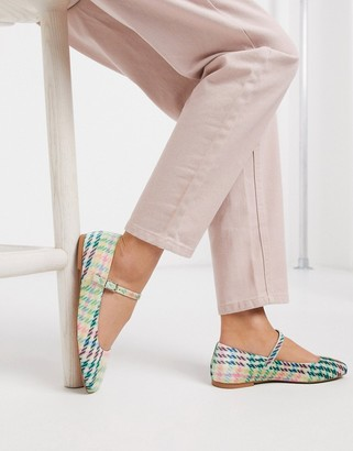 ASOS DESIGN Late mary jane ballet flats in check