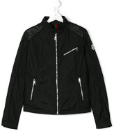 Moncler zipped jacket - kids - Leather/Polyamide - 14 yrs