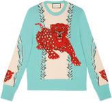 Gucci Leopard intarsia wool crew neck sweater